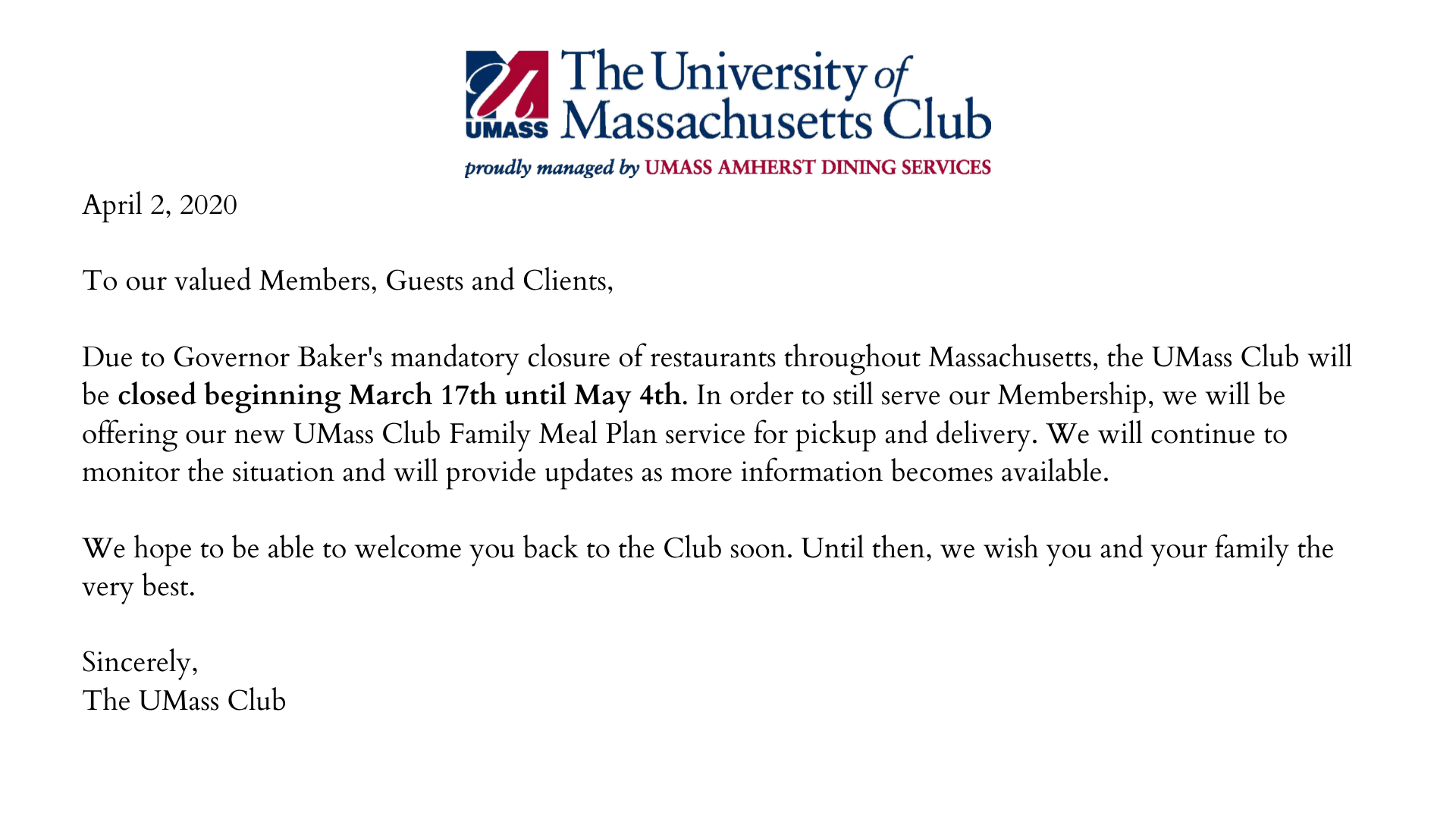 Club Closed until May 4th
